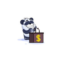 panda bear orator speaker behind podium