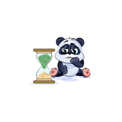 sad panda bear sticker emoticon sits at hourglass