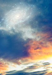 Wall Mural - sunset sunrise cloudy sky with stars and galaxy like magic, mystic, mystical, sci-fi, fantasy background
