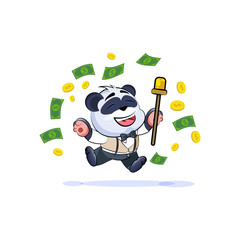 panda bear in business jump joy money