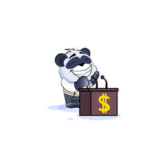 panda bear in business suit speaker behind podium