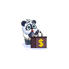 panda bear in business suit behind podium