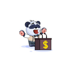 panda bear in business suit orator speaker