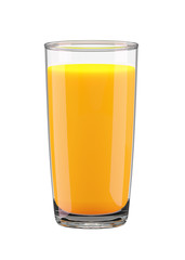 Glass with orange juice isolated on white background. 3d rendering.