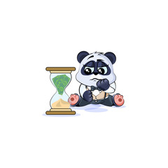 sad panda bear in business suit sits at hourglass