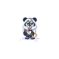 panda bear in business suit extend hand