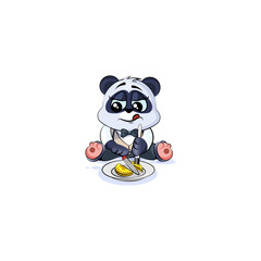 panda bear in business suit shares coin money