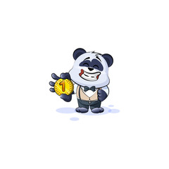 panda bear in business suit cryptocurrency money