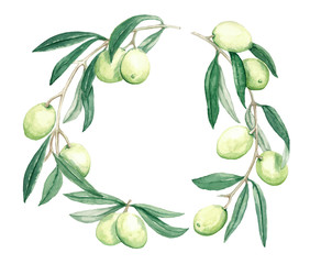 decorative wreath branch olives with fruits and leaves watercolor illustration