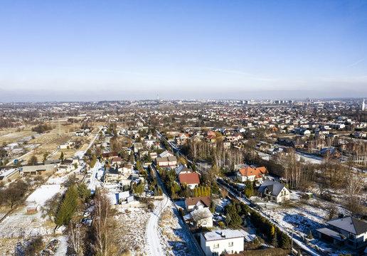City landscape and blue sky