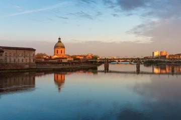 The Saint-Pierre bridge and Dome de la Grave in Toulouse, France