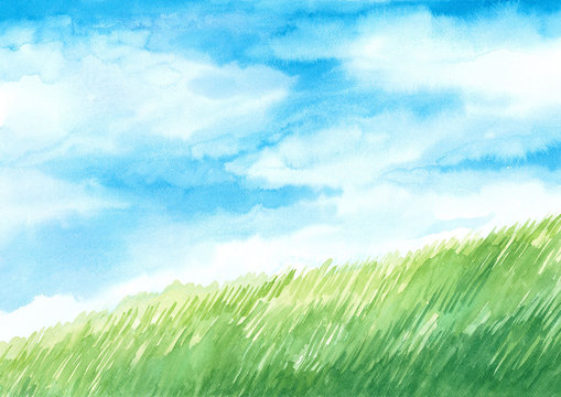 background watercolor illustration, blue sky with green meadow