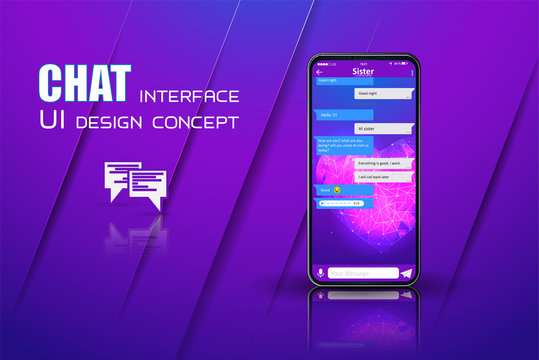 Clean Mobile UI Design Concept. Trendy Chatbot Application with Dialogue window. Sms Messenger. Vector