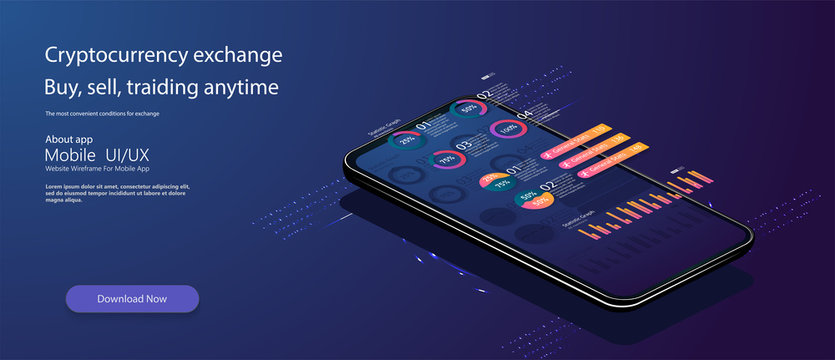 Futuristic mobile technology concept. Market trend analysis on smartphone with line chart and graphs . Design infographic, statistics on screen. Landing page template. Vector.