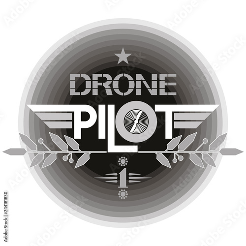 Drone pilot icon Monochrome illustrative text poster