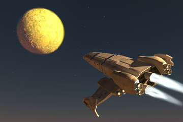 The spaceship image 3D illustration