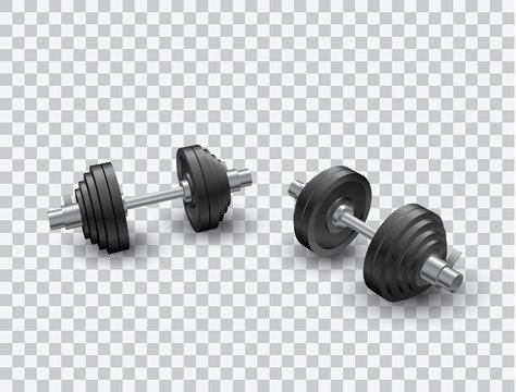 Beautiful realistic perspective view fitness vector of two black iron loadable dumbbells on transparent background.