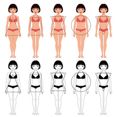 set of five different types of female body shapes, different types of beautiful woman
