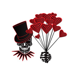 Valentine background with skull icon and hearts vector illustration black and white
