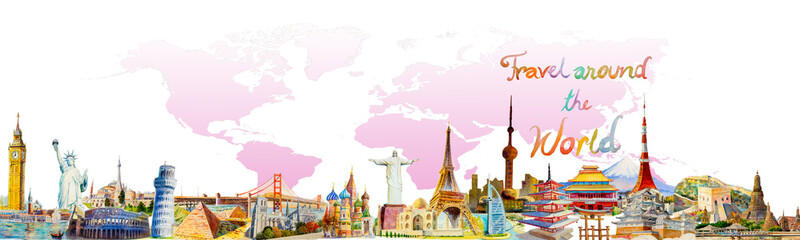 World travel and sights. Famous landmarks of the world. Wall mural