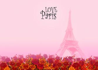 Eiffel tower- Paris France love card.
