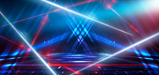 Abstract blue background with neon light, tunnel, corridor, red laser beams, smoke, rays, lines. Product showcase spotlight background. Clean photographer studio. Abstract blue background