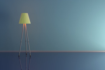 3d illustration of a lamp in a blue room.
