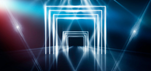 Abstract blue background with neon light, tunnel, arch, corridor, red laser beams, smoke. Light arch. Abstraction of blue with neon, rays, lines.