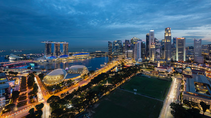 Singapore Marina Bay Aerial View during blue hour