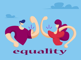 Woman and man show their muscles. Equal women's rights. Vector illustration in flat style