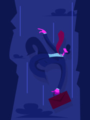 Businessman falls into the abyss. Business concept. Vector illustration in flat style