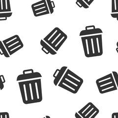 Trash bin garbage icon seamless pattern background. Trash bucket vector illustration. Garbage basket symbol pattern.
