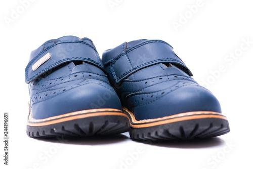 c56587e06 Blue baby shoes isolated on white background