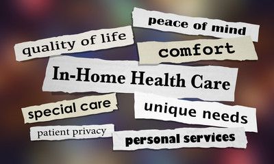 In-Home Health Care Newspaper Headlines 3d Illustration
