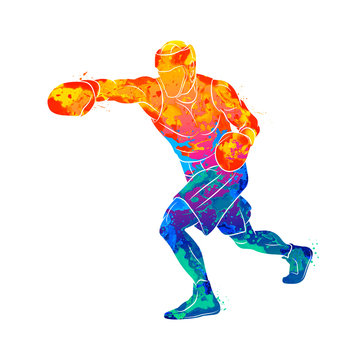 Abstract boxer man, mixed martial arts fighter from splash of watercolors