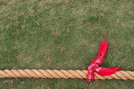 Thick Rope With Bandana Ready For Tug Of War Game