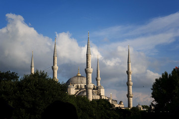 Minarets of Sultanahmet (Blue Mosque) and the clouds in the background