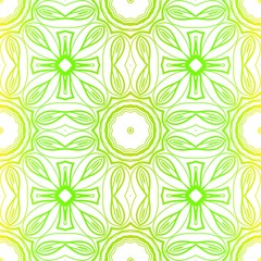 Green color seamless floral lace ornament. Vector illustration. Design for layout, page, background