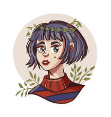 Hand drawn beautiful young woman in wreath. Cute girl with short hair.
