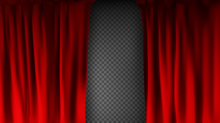 Realistic colorful red velvet curtain folded on a transparent background. Option curtain at home in the cinema. Vector Illustration Fototapete