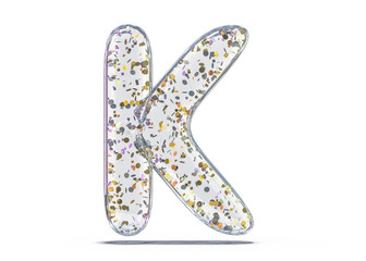 Letter K. Alphabet from transparent foil balloons. 3D