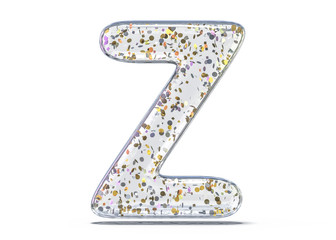 Letter Z. Alphabet from transparent foil balloons. 3D