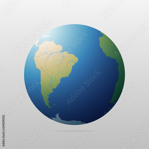 Earth Globe With Green Continents Modern 3d World Map Concept