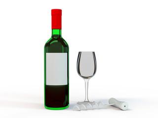 Wine Bottle Mockup. Blank Label. 3D