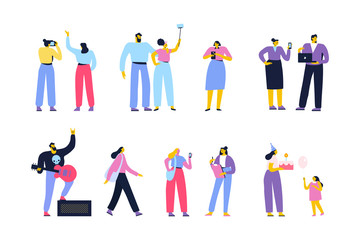 People of different ages and occupations. Male and female characters vector set. Flat vector characters isolated on white.