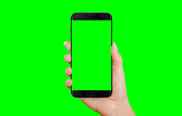 Black smart phone in woman hand. Isolated screen and background in green, chroma key.