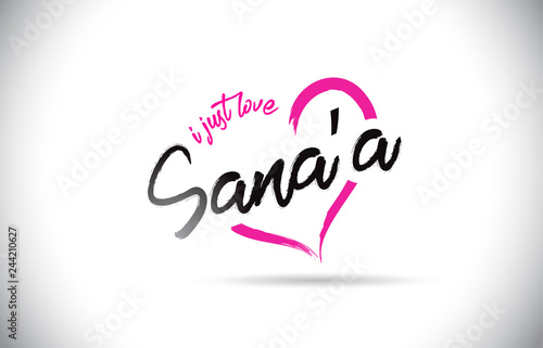 Sana'a I Just Love Word Text with Handwritten Font and Pink
