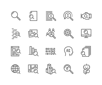 Simple Set of Search Related Vector Line Icons. Contains such Icons as Reverse Indexation, Search Bot, Artificial Intelligence and more. Editable Stroke. 48x48 Pixel Perfect.