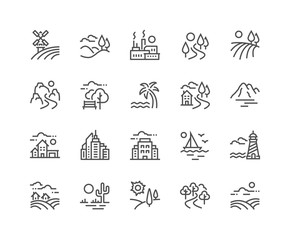 Garden Poster White Simple Set of Landscape Related Vector Line Icons. Contains such Icons as Farm, Megapolis, Desert and more. Editable Stroke. 48x48 Pixel Perfect.