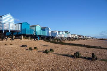 Beach huts at Thorpe Bay, Essex, England